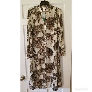 H&M Bengal Cat Long Button Down